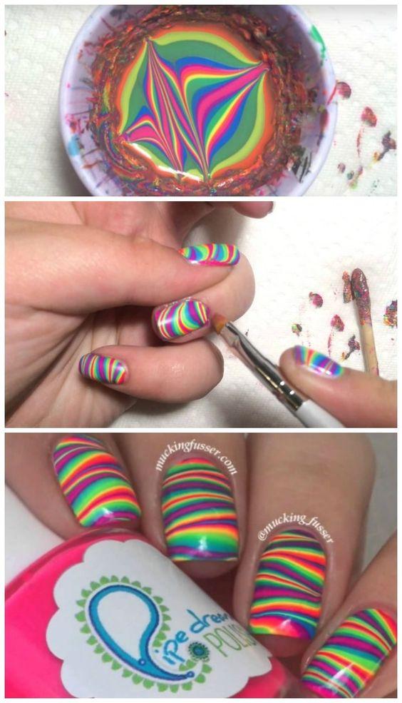 rainbow water nail art 1