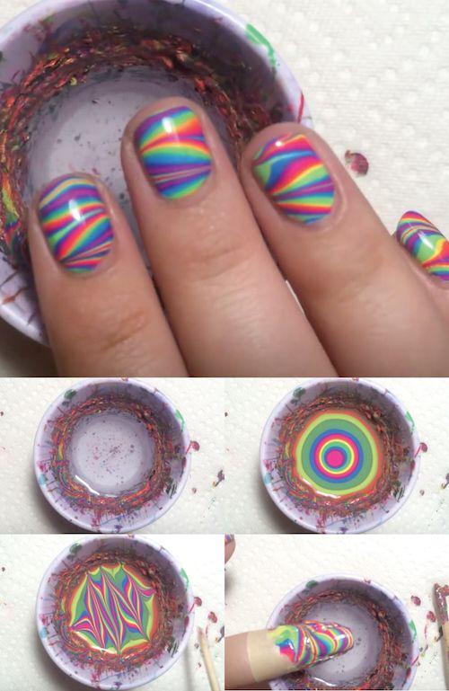 rainbow water nail art 2