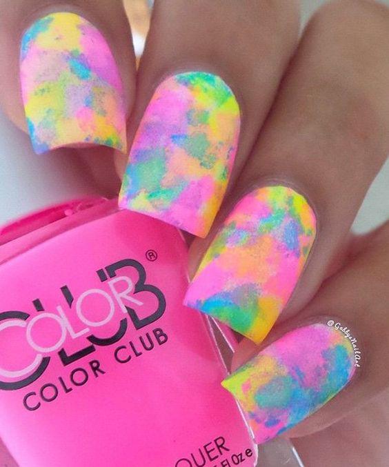 rainbow water nail art 3