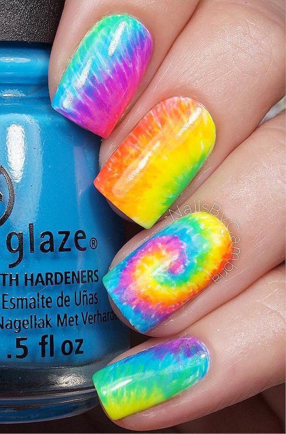 rainbow water nail art 5