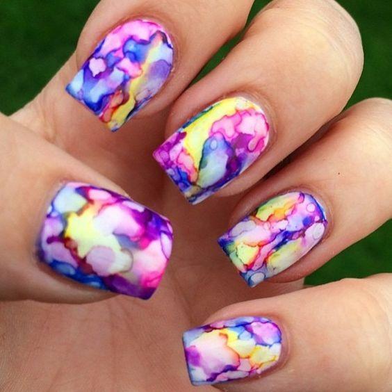 rainbow water nail art 6