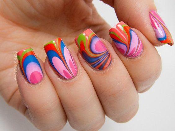 rainbow water nail art
