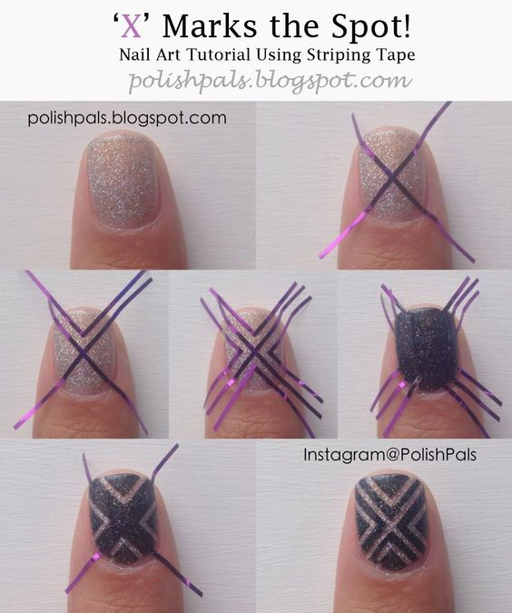 striped nail art using tape 1