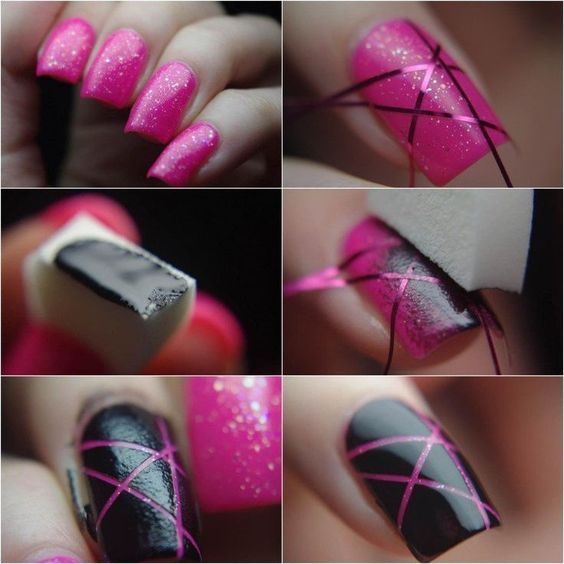 striped nail art using tape 2