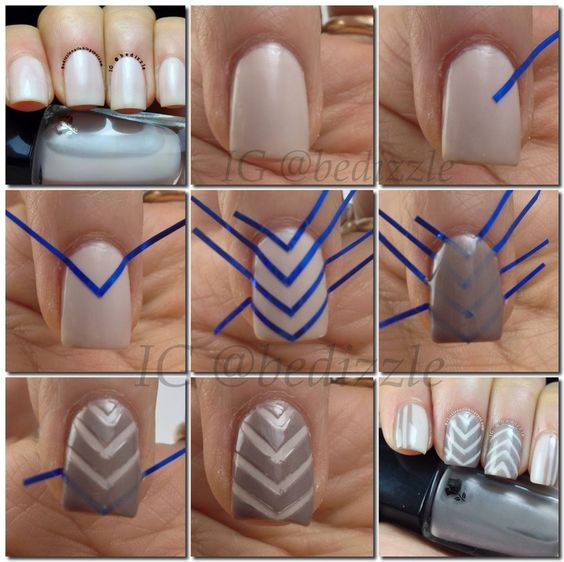 striped nail art using tape 3