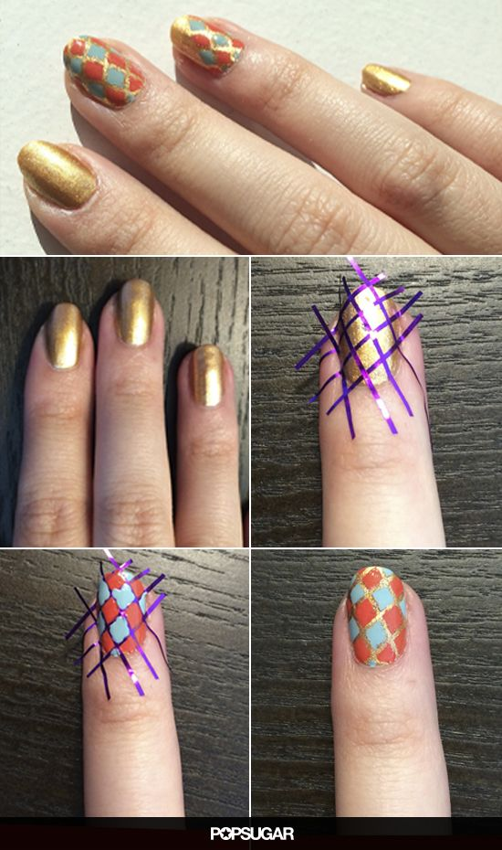 striped nail art using tape 5