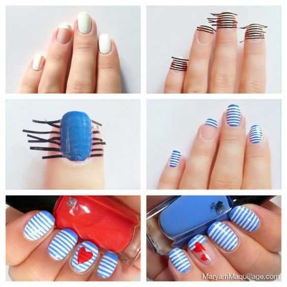 striped nail art using tape 6