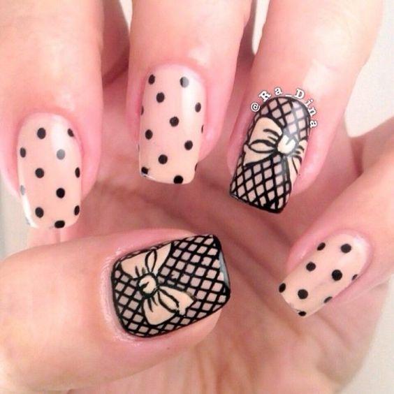 tie nail ideas lace