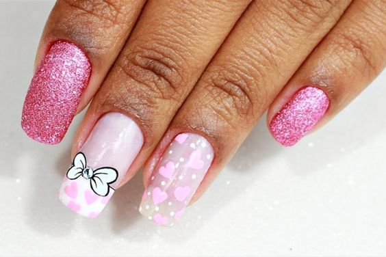 tie nail pink
