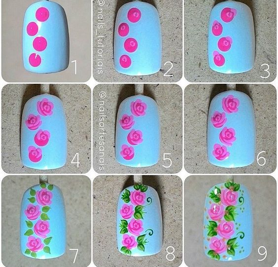 tutorial floral nail art 1
