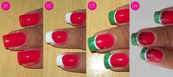 watermelon nails tutorial 1