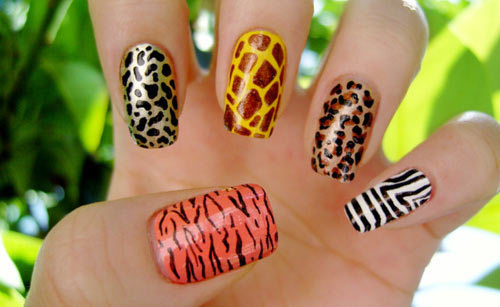 zebra nail art animal print